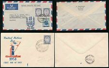 THAILAND SIAM 1953 + 1955 UNITED NATIONS DAY FDCs