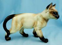 "Vintage Lefton Siamese Cat 4.5"" Figurine Porcelain Seal Point Japan Blue Eyes"