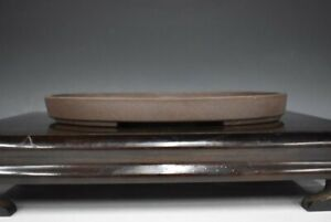 "Japanese Bonsai Pot Tokoname YAMAAKI 9""(22.8cm) Dark Brown Oval Shallow H032"