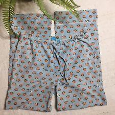 Paul Frank Blue Sock Monkey Print Cotton Wide Leg Drawstring Pajama PJ Pants M