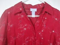 Liz & Me Red Floral Embroidered Womens Long Sleeve Shirt Top Size 0X 14/16 Soft