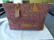 Dooney & Bourke Brown Tan Red Leather Cloth DB Large Shoppers Tote Bag