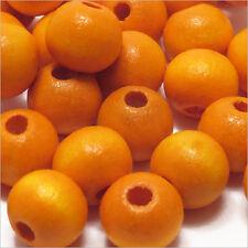 Lot de 50 perles rondes en Bois 10mm Orange