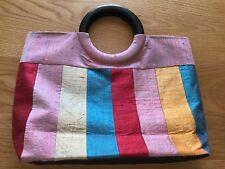 Silk Striped Tote Handbag Purse Round Handle Unbranded