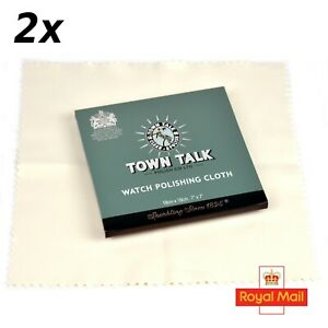 2 x Original Town Talk Polishing Microfibre Cloths for Watches Silver Bracelets