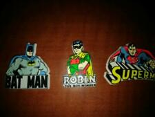 Vintage Super Hero Fridge Magnets x3 1975 Superman Batman Robin