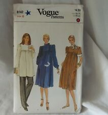 Vogue 8142 Ladies Maternity Tunic Top Dress Pants Size 6 Sewing Pattern
