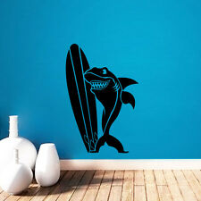 Funny Shark With Surf Boards Wall Decals Ocean Wall Stickers Kid Room Wall Decal