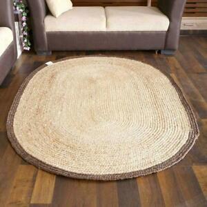 Rug 100% natural jute reversible modern oval rug handmade carpet living area rug