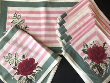 vintage textiles placemat napkins runner roses Set pink green stripe