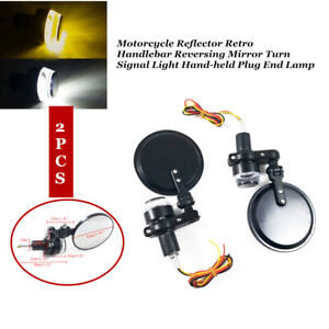Pair Folding Motorcycle 7/8''Handlebar End Reversing Mirror w/LED Steering Light