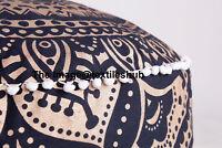 INDIAN BLACK GOLD OMBRE MANDALA OTTOMAN POUFFE FOOT STOOL POUF ROUND FLOOR POUF