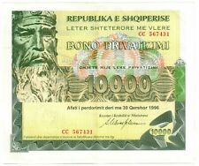 More details for albania - 10,000 leke privitization bond, printed by bank on banknote paper.rare