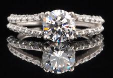 585er Weiß gold 2,50Kt Solide runden Form Gefordert Solitär Verlobung Ring