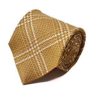 New $230 ISAIA 7-Fold Ochre Gold Layered Check Print Silk Tie