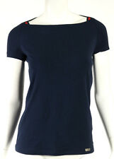 GUCCI Navy Blue Cotton Knit Striped Web Trim Cut-Out Detail Top M