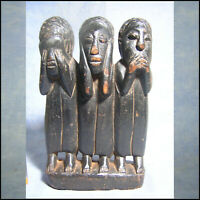 AFRICANTIC 3 SAGES BAOULE ART PRIMITIF AFRICAIN ANCIEN STATUE AFRICAINE AFRICAN