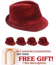 WINTER VELVET Fedora Hat WOMEN MEN Wedding Dress Formal RED CAP VALENTINES GIFT