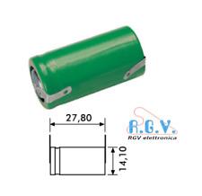 Batteria ricaricabile NI-MH 2/3AA 1,2V 700mAh 14,1x27,8mm a saldare con lamelle