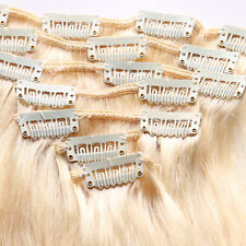 Clip In 100% Real Human Hair Extensions 7PCS/SET Full Head Straight