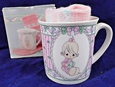 Rare Precious Moments~Babys First Christmas 1991 ~233617~ Girls Mug & Pink Socks