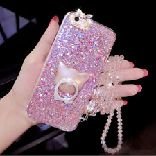 For iPhone 11 Pro Max XS 8+ Bling Giltter Diamond Case & Cat Ring Stand & Strap
