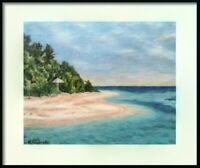 Giclee Print Bahamas Beach Impressionist Landscape Signed Framed Art Wall Decor
