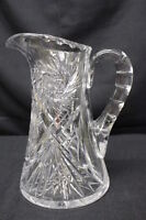 Antique American Brilliant Cut Glass Pitcher w/Thumbprint Handle & Fan Hobstar