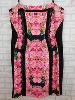 City Chic Corset dress Sz L, 20 Pink, black floral print Lace trim Evening