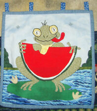 Frog eating watermelon summer sweet chic handmade quilted applique puppy quilt