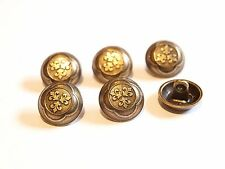 6x Vintage Ornate Bronze Metal Round Buttons ~ 14mm