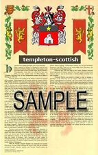 TEMPLETON Armorial Name History - Coat of Arms - Family Crest GIFT! 11x17