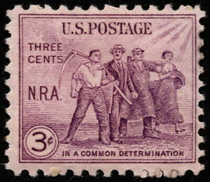 US - 1933 - 3 Cents Purple National Recovery Act (NRA) Issue # 732 Mint & Fine