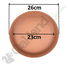 10 x 26cm Plant Pot Saucer Drip Tray Terracotta Plastic Deep High Sided Strong