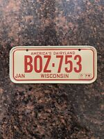 Vtg 78 Wisconsin BICYCLE LICENSE PLATE-BOZ-753-Mini Bike-Red White-Metal-Emboss