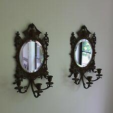 Pair of Antique Bronze Candle Sconce, Mirror, Girandoles