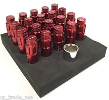 NRG STEEL LUG NUTS WITH DUST CAP COVER SET 12X1.25 RED