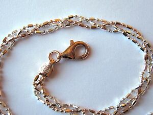 "Italy Sterling Silver & 14k Rose Gold Ankle Bracelet 11"" Rose and Silver Braided"