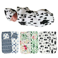AU_ BH_ KF_ 2Pcs Baby Boy Girls Floral Stretch Sleeping Swaddle Blanket Hat Head