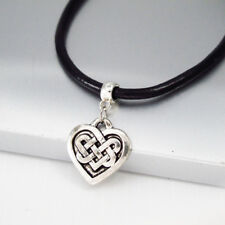 Silver Alloy Irish Celtic Knot Love Heart Pendant Black Leather Choker Necklace