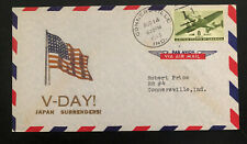 1945 Connersville USA Patriotic Cover Victory V Day Japan Surrenders Local Used