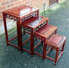 More details for nest 4 quartetto chinese carved solid rosewood antique style lamp side tables