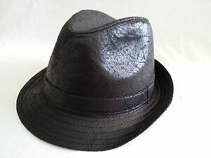 BLACK TRILBY PORK PIE LEATHER LOOK PVC FEDORA HAT MEN'S  LADIES CAP