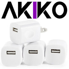 AKIKO 4PC Universal AC DC Power Adapter 1 Port USB Home Wall Charger Grip 5V