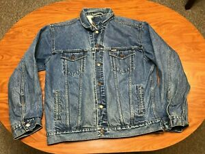 MENS USED LEVI'S STRAUSS SIGNATURE BUTTON UP DENIM BLUE JEAN JACKET SIZE XL