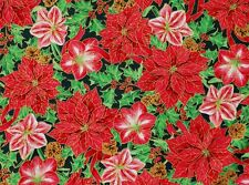 POINSETTIA AMARYLLIS CHRISTMAS FABRIC JOY TO THE WORLD 100% COTTON QUILTING  QT