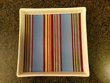 "Grasslands Road Backyard BBQ Ceramic Square Chip Dish 9.5"" Cabana Stripes NEW"