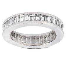 4.35 carat Baguette cut Diamond Ring 14k Gold Channel set Eternity Band F - Vs1