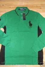 Ralph Lauren Polo Men Big Pony GREEN Shirt MEDIUM M  Custom Fit Leather Patch