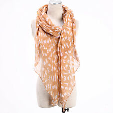 Extra Large Womens Gorgeous Peach Colour Fashion Scarf in Cat Design